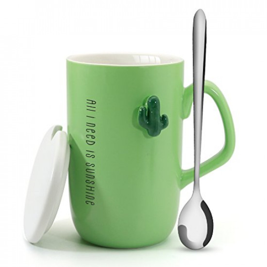 Asmwo Creative Ceramic Light Green Cactus Coffee Mug with Stainless Spoon and lid 13 oz Cactus Mug Set Perfect Container for Juice Coffee Water Tea